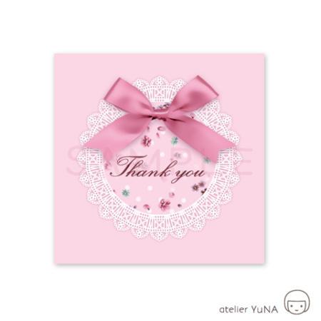 Thank youシール四角 リボンと丸レースのタグ 小花模様 ピンク